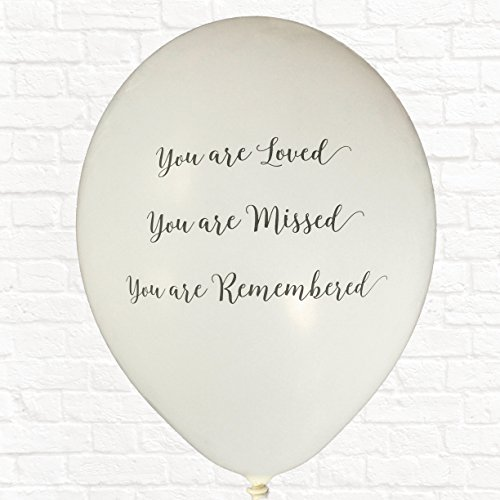 25 White 'You are Loved, Missed, Remembered' Biodegradable Funeral Remembrance Balloons - for Memory Table, Memorial, Condolence, Anniversary by Angel & Dove