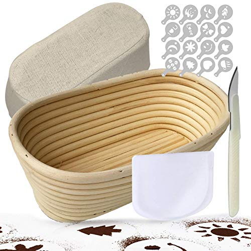 Oval Banneton, Bread Proofing Basket 10 inch, TGetWorth Bread Baking Kit - Includes Dough Scoring Tool, eBook, Bowl Scraper, Linen Banneton Cover, 16 Pieces Bread Decor Stencils for Bread Making