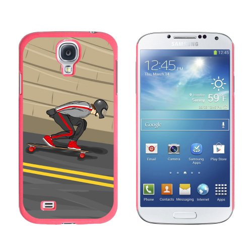 Graphics and More Longboarding Skateboarding - Longboard - Snap On Hard Protective Case for Samsung Galaxy S4 - Pink