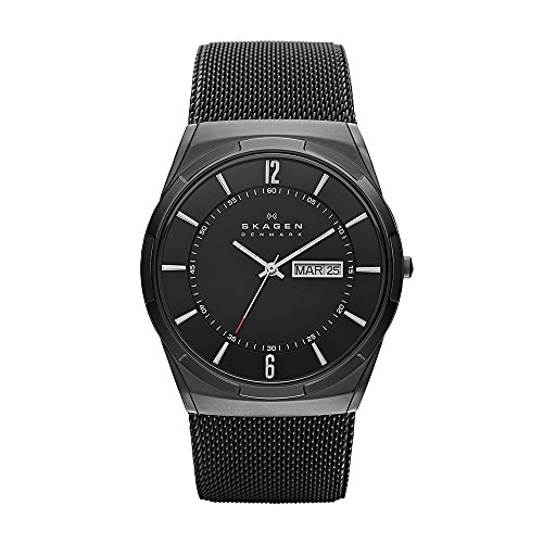 Skagen Men's Melbye Quartz Titanium and Stainless Steel Mesh Casual Watch, Color Black (Model: - Watch Mesh Titanium