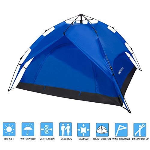 ANCHEER Portable 2 Person Camping Tent for Kids & Adults - Waterproof Pop Up Backpacking Camping Dome Tent for Outdoor Sports - Beach Hiking Fishing (Blue)