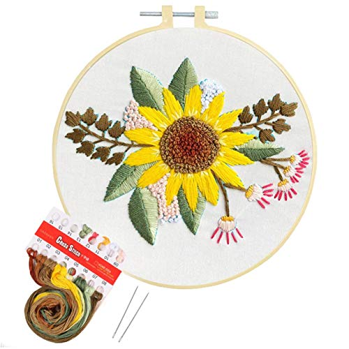 Artilife Embroidery Kit Cross Stitch Kit for Adults Beginners Stamped Embroidery with Pattern for Kids Craft Embroidery Hoops Floss Thread Needles, Sunflower