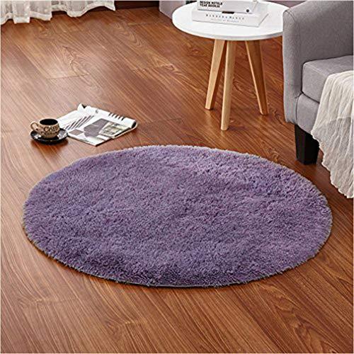 Accent Floor Rug - LOCHAS Round Area Rugs Super Soft Living Room Bedroom Home Shaggy Carpet 4-Feet (Gray-Purple)