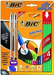 Kit Escolar, BIC, 12 Lápis de Cor + 4 Lápis Preto Evolution + 2 Canetas Cristal Dura + 1 Borracha + 1 Apontado