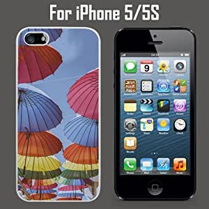 Colorful Umbrellas Custom Case/ Cover/Skin *NEW* Case for Apple iPhone 5/5S - White - Plastic Case (Ships from CA) Custom Protective Case , Design Case-ATT Verizon T-mobile Sprint ,Friendly Packaging - Slim Case