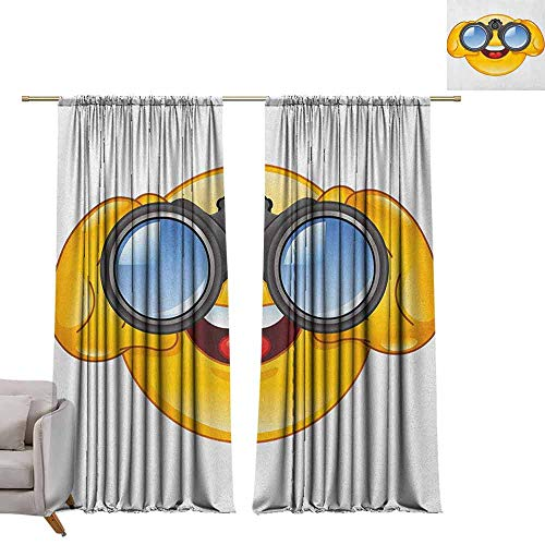 - berrly Window Curtain Fabric Emoji,Smiley Face with a Telescope Binoculars Glasses Watching Outside Cartoon Print, Yellow and Blue W72 x L84 Customized Curtains