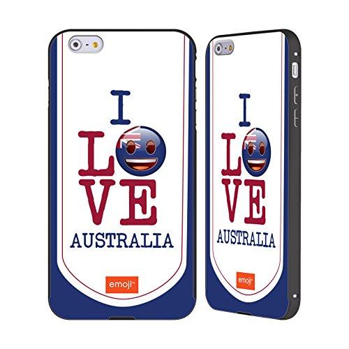 Officiel Emoji L'Australie J'aime Mon Pays Noir Étui Coque Aluminium Bumper Slider pour Apple iPhone 6 Plus / 6s Plus