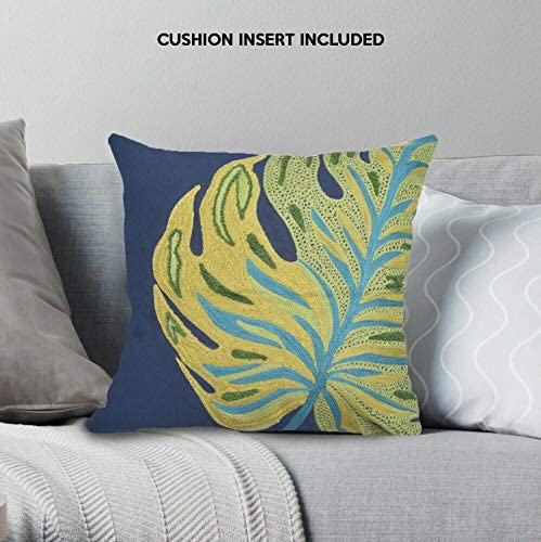 Decozen Decorative Throw Pillow with Insert 18 x18 inches in 1 Set Embroidered Leaf Design for Couch Sofa Bed Living Room Bedroom Farmhouse Patio