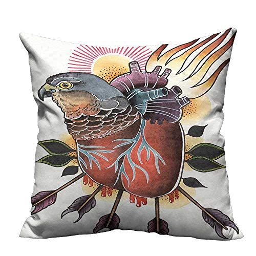 alsohome Home DecorCushion Covers Flamed He Shaped Hawk Body Arrow M d Love Sorrow Heal Image Brown Decorative for Kids Adults 31.5x31.5 inch(Double-Sided Printing) (Flamed Cover)