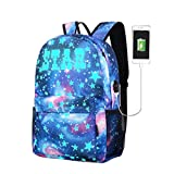 Women Canvas Backpack Collection USB Charger Teen Girls Kids School Bag (Blue-B(Without Pen Bag & Lock), M(11.8'' 17.7'' 5.5''))