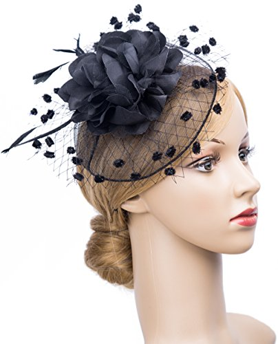 Christmas Fashion Top Hat Headband (Fascinators Hats for Womens 50s Headwear with Veil Flower Cocktail Tea Party Headwear(A-Blck))