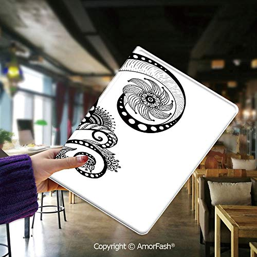 Printed Case for Tablet Samsung Galaxy Tab E9.6 T560 T561 PU Leather for Samsung SM-T560 / T561,Henna,Mehndi Body Art Doodle in Black and White Abstract Floral Arrangement Illustration Decorative,Blac