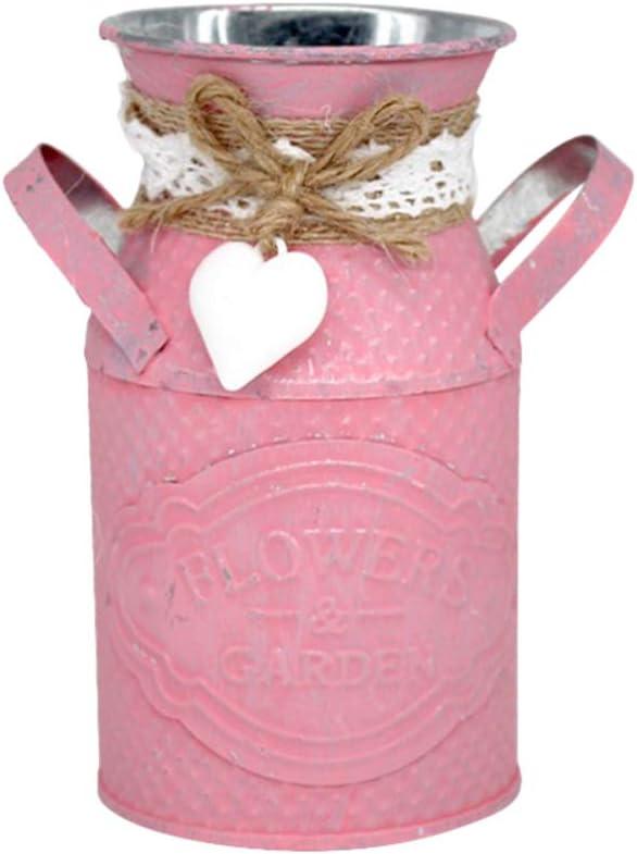 IMIKEYA Rustic Flower Holder Shabby Chic Metal Vintage Jug Vase for Home Garden Book Rack Decor (Pink)