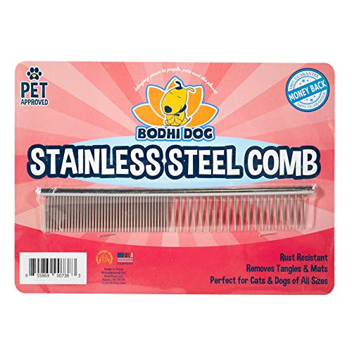 Premium Stainless Steel Metal Comb for Dogs and Cats | Detangler Grooming Brush for Pets with Short and Long Hair…