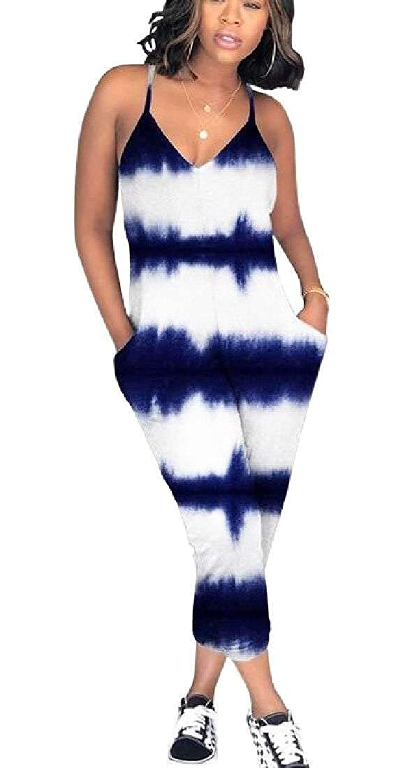 Bravepe Women Baggy Pockets Spaghetti Strap Classic Party Tie-Dyed Jumpsuits