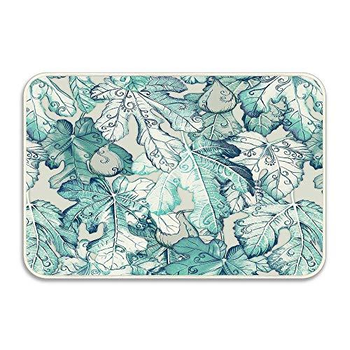 (Puyrtdfs Fig Leaf Fancy - A Pattern in Teal and Grey Doormat Indoor/Outdoor/Front/Bathroom Mat Doormat Neoprene Rubber Non-Slip Door Mat 16
