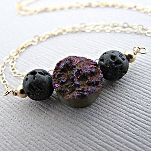 Purple Druzy Lava Pendant Essential Oil Necklace Diffuser Aromatherapy - Simple Minimalist Lava Bead Diffuser Necklace Dainty 14kt Gold Fill [並行輸入品] B07B92W9VX