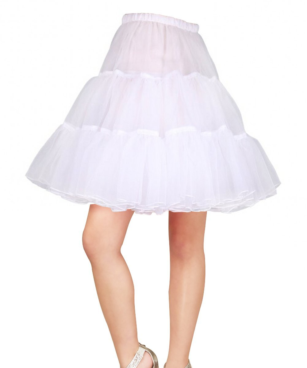 Sweetdresses 50s Rock n Roll Hoopless Short Skirt Fancy Tutu Petticoat,18'' Length (Small/Medium, White)