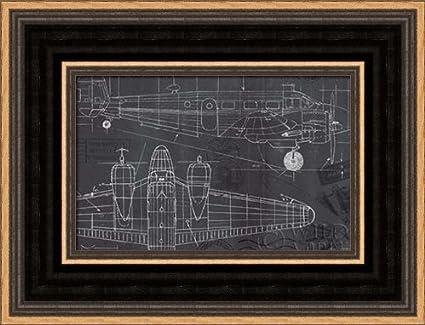 .com: plane blueprint i - framed art print - 4x6 fine art ...