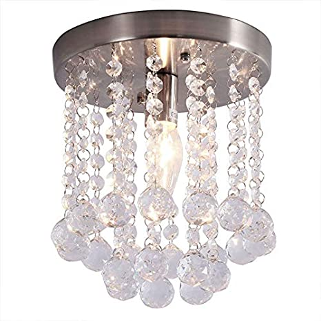 Modern Crystal Mini Chandelier Lighting Brushed Nickel Small Round  Chandeliers 1 Light Iron FlushMount Ceiling Light