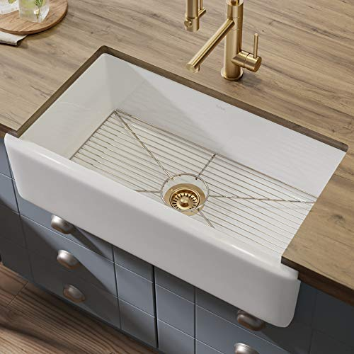 - KRAUS Turino 33-inch White Fireclay Farmhouse Apron Reversible Single Bowl Kitchen Sink with Bottom Grid KFR1-33GWH