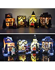 Christmas Village Houses - 10Pcs Winter Snow Landscape Christmas Village Sets LED Light Up House, with Miniature House Santa Claus Christmas Trees Resin Ornament Home Decoration