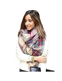 Tenworld Charming Wool Blend Blanket Oversized Tartan Scarf Wrap Shawl Plaid Pashmina