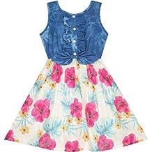 Sunny Fashion Girls Dress Skirt Blue Denim Floral Dress Bow Tie Casual Beach $