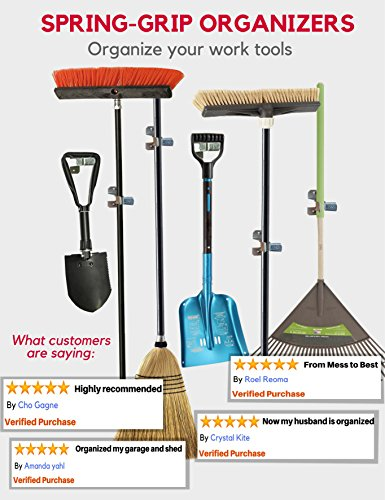 Heavy Duty Shovel Holder Wall Mount and Garden Tool Hangers for Garage Wall, Broom Clips for Wall and Rake and Shovel Organizer (10 Pack), Hardware Included + 2 Double Hooks for Garden Rake Holde