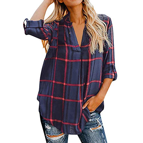 TWGONE Tunic Shirts For Women 3/4 Sleeve Plaid Printed V Neck Pullover Top Blouse (Large,Navy)