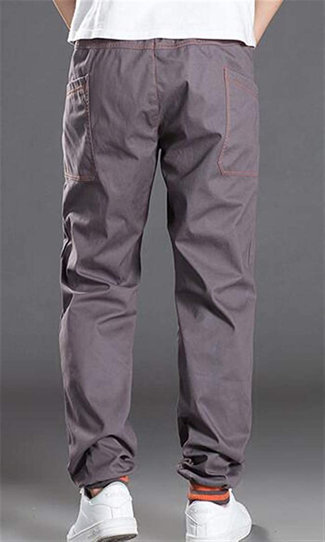 BU2H Men Plus Sized Pocket Lightweight Workwear Pull On Cargo Skinny Pants