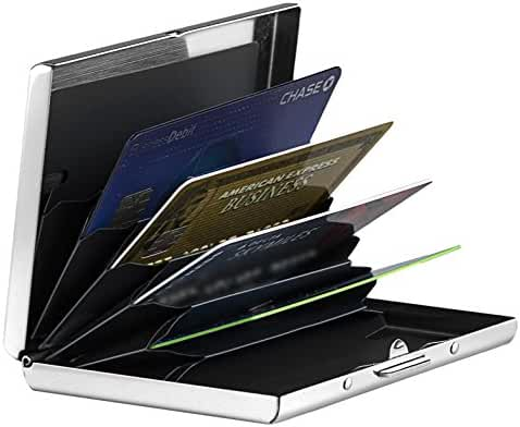 RFID Blocking Credit Card Holder, Stainless Steel Metal Casing Wallet with Six Accordion-Style Slots, By NDX Global