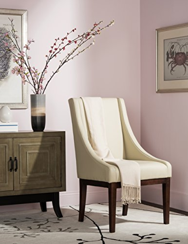 Safavieh Mercer Collection Mario Leather Arm Chair, Cream