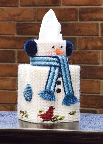 Plastic Snowman - Mary Maxim Snowman Plastic Canvas Tissue Box Kit, 5
