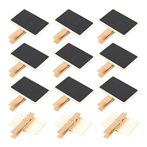Set of 12 Mini Wooden Small Blackboard Chalk Tag Signs - Hanging Chalk Boards with Clips for Note Taking, Parties, Buffets - 2.6 x 2.3 x 0.5 inches
