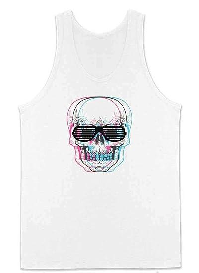 4bd2adada1b50 Amazon.com  Skull With Shutter Sunglasses Mens Tank Top  Clothing