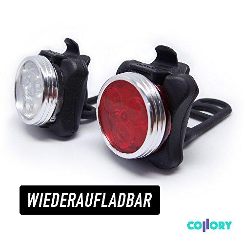 COLLORY ► Ultrahelle LED Fahrradbeleuchtung (Set), Wiederaufladbar über micro USB, Front- und Rücklicht mit 4 Licht-Modi-Einstellungen und 350lm, Fahrradlampen, Fahrradlicht, Scheinwerfer, Lampenset