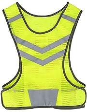Tbest Chaleco Reflectante Bicicleta Ciclismo,Chaleco Reflectante Deportes de Seguridad Ajustable Alta Visibilidad para Al Aire Libre Correr Senderismo Footing Mujer Hombre,Amarillo Fluorescente L