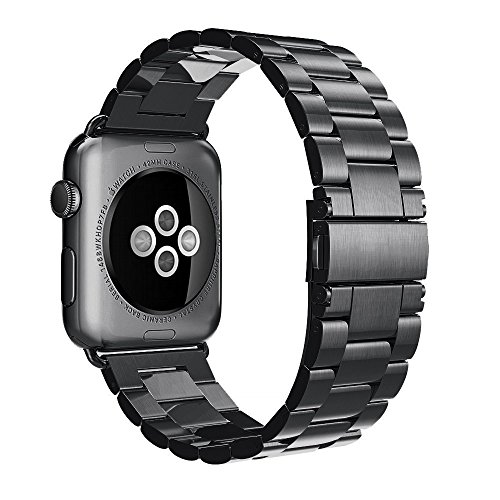 (Apple Watch Band 42mm 44mm - Stainless Steel Metal iWatch Bands Mens Strap Replacement for Apple Watch Band Sports Series 1 2 3 4 Sports and Edition Black)