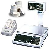 CAS JRS2000POLE30 NTEP Price Computing Scale, 30 x 0.005 lb w/Column, Printer & Case of Labels