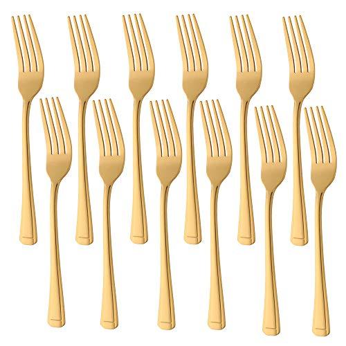 Buyer Star 12 tenedores de postre de acero inoxidable dorado para el hogar Kichen o restaurante, cubiertos de espejo pulido