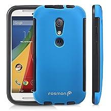 Fosmon® Motorola Moto G (2nd Gen, 2014) Case (HYBO-SNAP) Detachable Full Body Hybrid Bumper Case Cover with Bulit in Screen Protector for Motorola Moto G (2nd Gen, 2014) - Fosmon Retail Packaging (Blue)