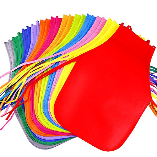 Caydo 24 Pieces 12 Colors Children's Artists Fabric Aprons for Kitchen, Classroom, Community Event, Crafts and Art Painting Activity -