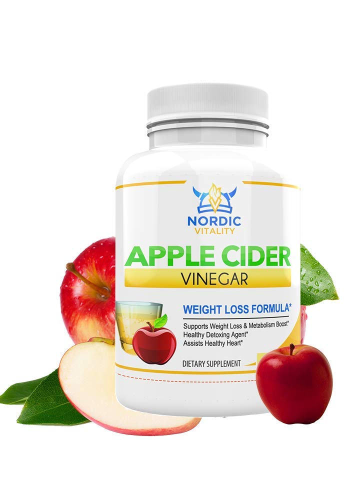 Natural Apple Cider Vinegar Capsules, Raw Apple Cider Vinegar, Non-GMO Apple Cider Vinegar, Apple Cider Vinegar Pills, Appetite Suppressing, Weight Loss, Natural Detox, Made in USA, by Nordic Vitality by Nordic Vitality