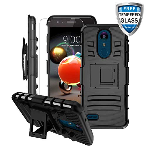 (LG Aristo 3 Case, LG Aristo 2/Rebel 4 LTE/Aristo 3 Plus +/Tribute Empire&Dynasty/LG K8S/Zone 4/Aristo 2 Plus/Fortune 2/K8+/Risio 3/Phoenix 4 Case w/Screen Protector&Kickstand&Belt Clip Heavy Duty Case )