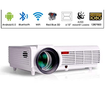 Gzunelic 4200 Lumens LCD Video Smart Projector 1080P LED Full HD Home Theater Proyector Built in Andoroid OS Support WiFi Ethernet Bluetooth Wireless ...