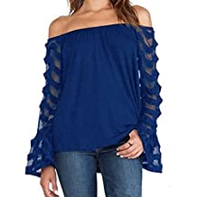 AGoGo Women's Spring Summer Off Shoulder Blouses Lace Long Sleeves Blouse