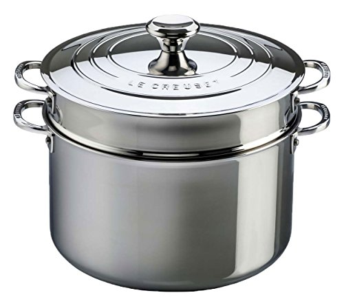 Le Creuset Tri-Ply Stainless Steel Stockpot with Lid and Deep Colander Insert, 9-Quart Stock Pot Colander