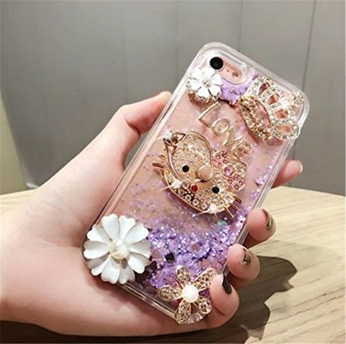 DVR 4000 iPhone 7 Liquid Quicksand Case,Luxury Shiny Bling Glitter Moving Liquid Quicksand Dynamic Sparkle Diamond Ring Kickstand Cover for iPhone 7 4.7 inch,NO5
