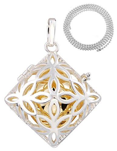 Eudora Harmony Bola Rhombus Angel Caller Locket Pendant Necklace Prayer Bell Pregnancy Gift, 45'' Bead Chain (Prayer Angel Locket)